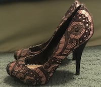 LULU TOWNSEND Pink Satin BLACK LACE Shoes HEELS 8.5 M Fort Lauderdale, 33316