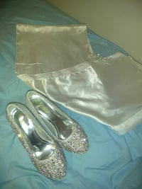 pair of silver-colored flat shoes and gray satin scarf Woodbridge, 22191