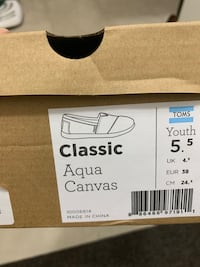 Brand new Toms classic Aqua canvas  size 5.5 with box New Westminster, V3L 0E5