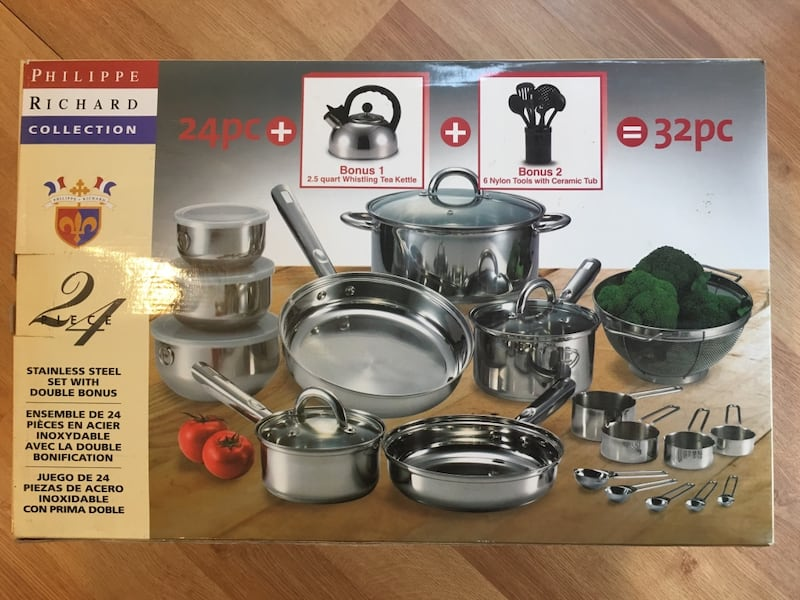 New Stainless Steel Cookware Set 24 Piece + 2 Bonus = 32 Pieces 501b0ed6-fcdb-4d9e-bfed-c487f036a786