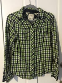 green and black western shirt