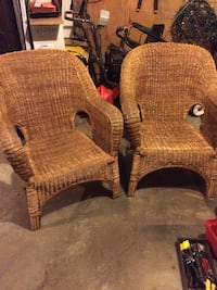 2 wicker chairs in good condition with cushions (not shown) and back pillows Methuen