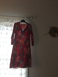 pink and green floral v-neck long-sleeved mini dress 日耳曼敦, 20874