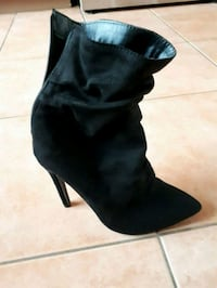 pair of ladies black suede heeled boots Toronto, M3K 1E3