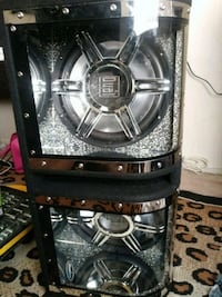 black and gray Kicker subwoofer