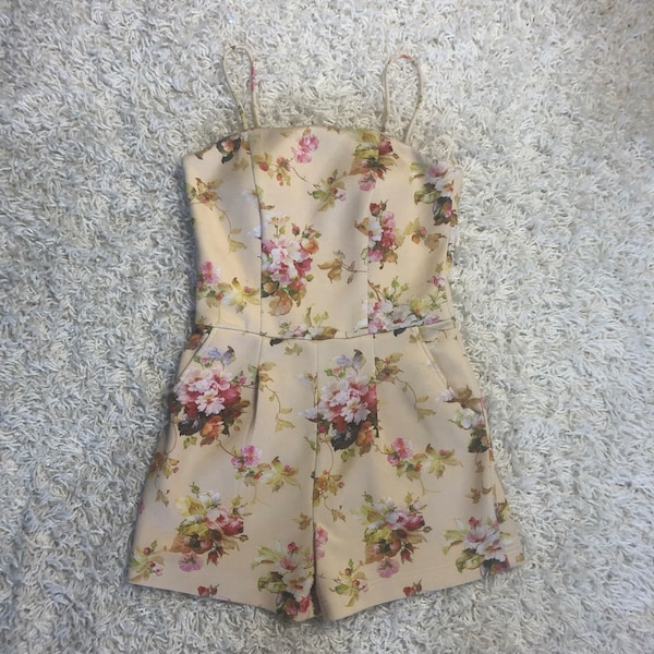 Pale Yellow Floral Romper