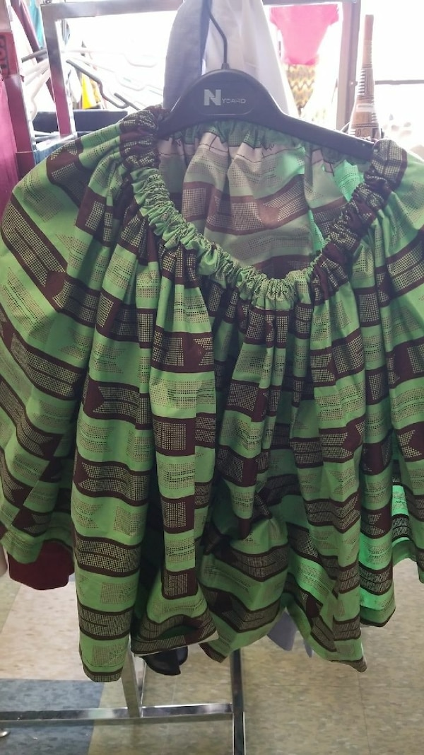 women's green and brown striped midi skirt