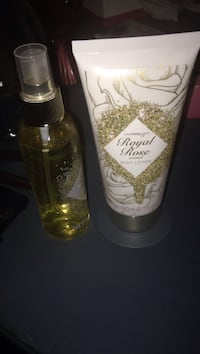 Two Royal Rose body lotion soft tube and spray bottle