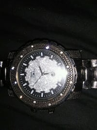 Black techno pave watch