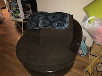 Black and gray floral fabric sofa chair