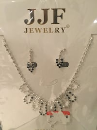 Faux Diamond Necklace and Earings