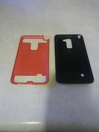 two black-and-orange phone cases