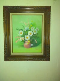 white flowers on brown plant pot painting with brown wooden frame Riverbank, 95367