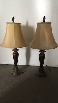 two brown wooden base table lamps with brown lampshades 3127 km