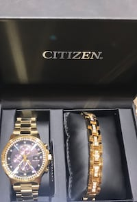 Brand New Citizen Set Gold Watch and Bracelet Hilo, 96720