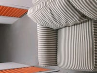 white and gray stripe fabric sofa chair Barrie, L4M 6J2