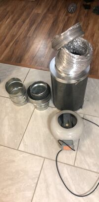 Inline fan, ducting, assorted fittings reducers, and a charcoal filter all for $100