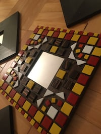 Wall decor - Hand laid mosaic and plain wooden square tiles.  Toronto, M4R 1V6