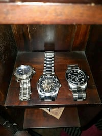 three round silver analog watches with link bracelets Waterloo, N2L 1V6