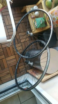 two black bicycle tire with wheels