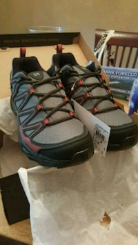 pair of gray-and-black/red  Salomon shoes Atlanta, 30306
