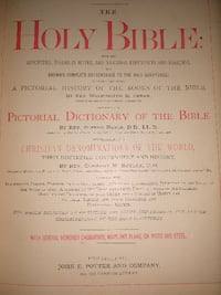 Antique 1884 Family Holy Bible & Reference Dictionary Leather Gold Col