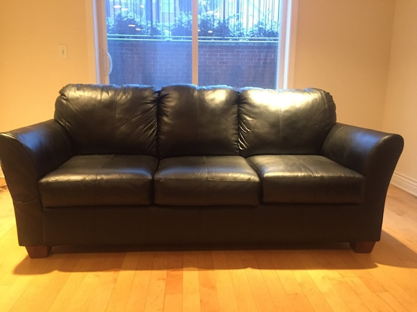 Genuine Leather Black Sofa
