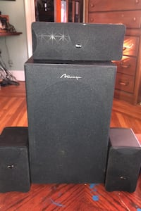 Mirage 2 speakers one center channel  amp and subwoofer plus two stand