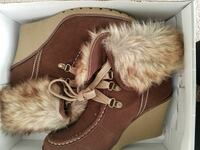 Pair of brown suede moc-toe fur-lined wedge ankle boots with white box Virginia Beach, 23453