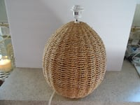 brown and white wicker Lamp Base FREDERICK