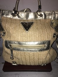 brown Guess leather tote bag