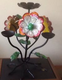 Vintage iron flower candle holder and beach glass