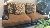 Brown fabric 2-seat sofa