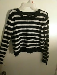 gray and black stripe scoop-neck long-sleeve sweat