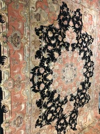 Black & Salmon Persian Tabriz Wool & Silk Rug Chantilly, 20151