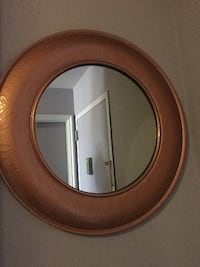 round brown wooden framed mirror NEWYORK