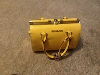 yellow Michael Kors leather tote bag
