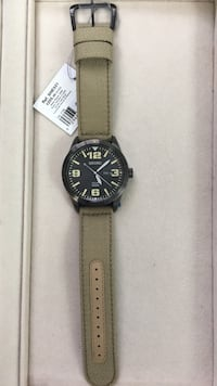 round black analog watch with brown leather strap Berryville, 22611