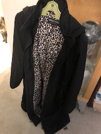 Designer long black coat with hood, pockets and belt size large see pictures if posted it's available  Burnaby, V5E 0A4