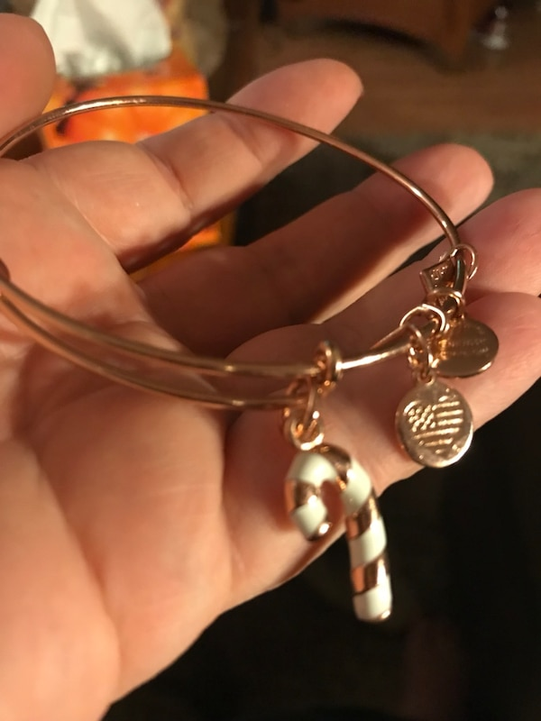 Alex and Ani rose gold candy cane bracelet