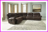 Brown Leather Power Recliner Sectional Irving