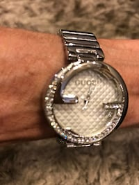 Ladies silver watch with white face & rhinestones Oklahoma City, 73127