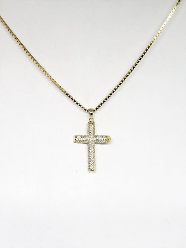 10k Yellow Gold Box Cross CZ Necklace 4