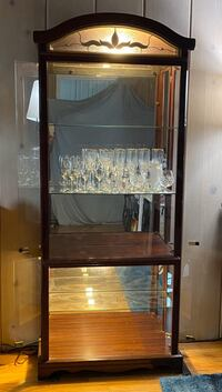 Curio cabinets set of 2 - wood glass mirror with light