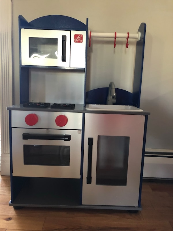 Wooden blue and silver kids kitchen