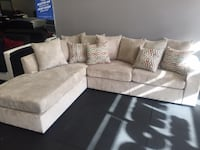 Champagne or Chocolate PLUSH SOFT Reversible Chaise Sectional tons of pillows SALE Essex
