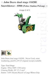 John Deere dual stage #1028E Snowblower  Germantown, 20874