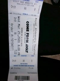 MUSICICAL BROADWAY ..2 Tickets to. COME FROM AWAY Toronto