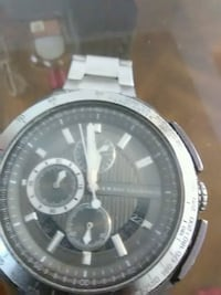 round silver chronograph watch with link bracelet 2394 mi