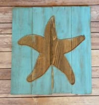 brow and teal star graphic wooden wall decor Elizabethton, 37643